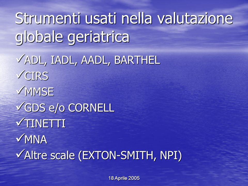 Strumenti usati nella valutazione globale geriatrica
