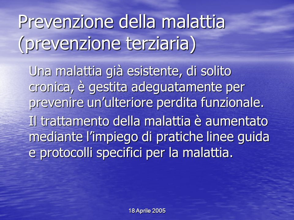 Prevenzione della malattia (prevenzione terziaria)