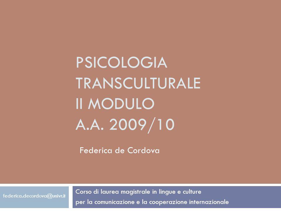 Psicologia transculturale II modulo A.A. 2009/10