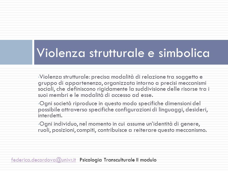 Violenza strutturale e simbolica