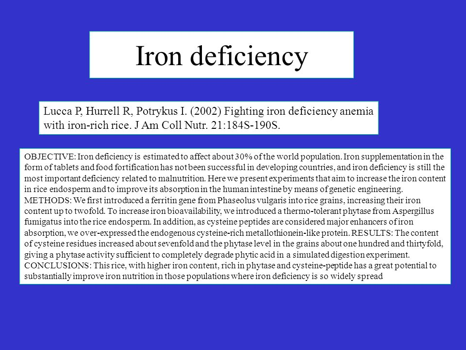 Iron deficiency Lucca P, Hurrell R, Potrykus I. (2002) Fighting iron deficiency anemia with iron-rich rice. J Am Coll Nutr. 21:184S-190S.