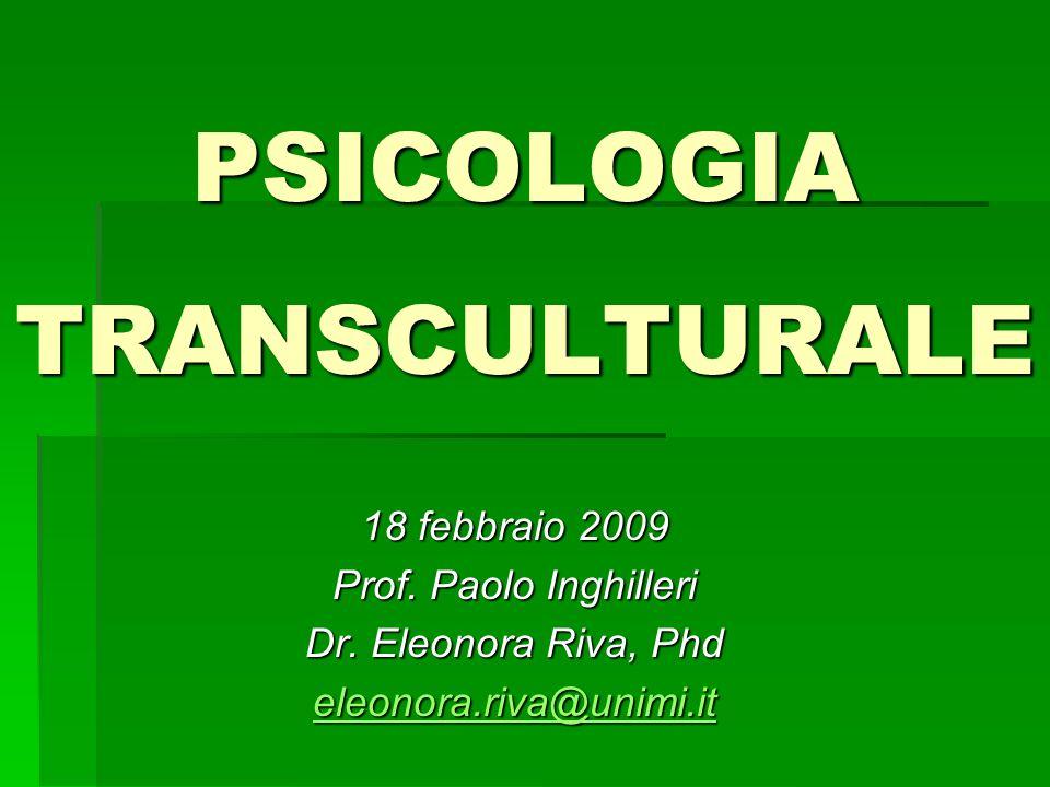PSICOLOGIA TRANSCULTURALE