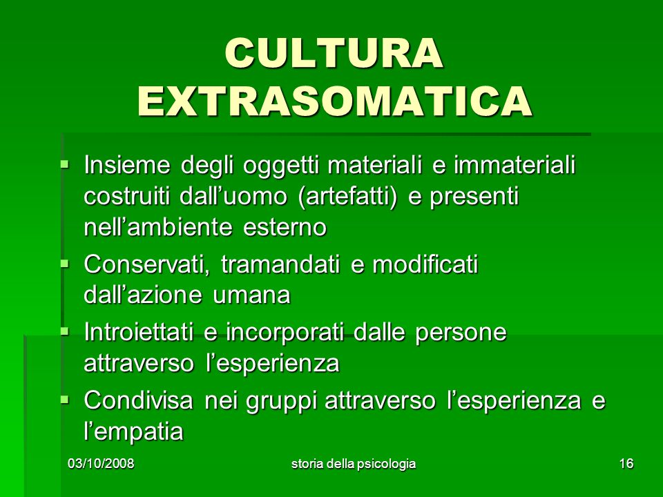 CULTURA EXTRASOMATICA