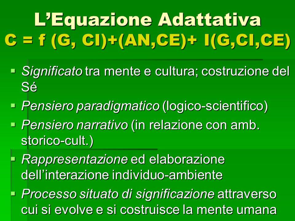 L'Equazione Adattativa C = f (G, CI)+(AN,CE)+ I(G,CI,CE)