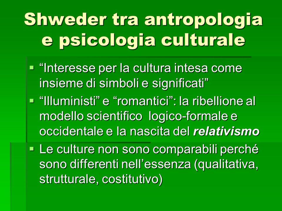 Shweder tra antropologia e psicologia culturale