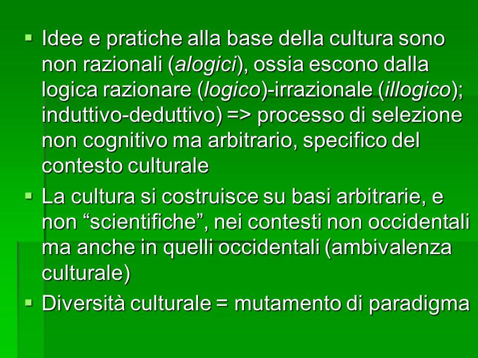 Idee e pratiche alla base della cultura sono non razionali (alogici), ossia escono dalla logica razionare (logico)-irrazionale (illogico); induttivo-deduttivo) => processo di selezione non cognitivo ma arbitrario, specifico del contesto culturale