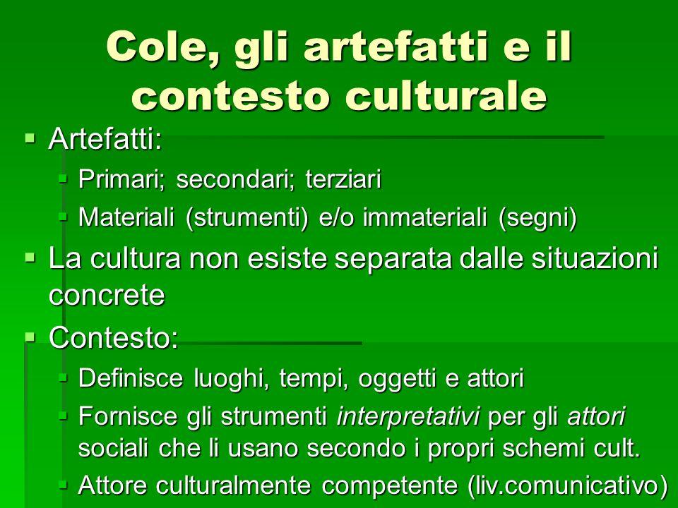 Cole, gli artefatti e il contesto culturale
