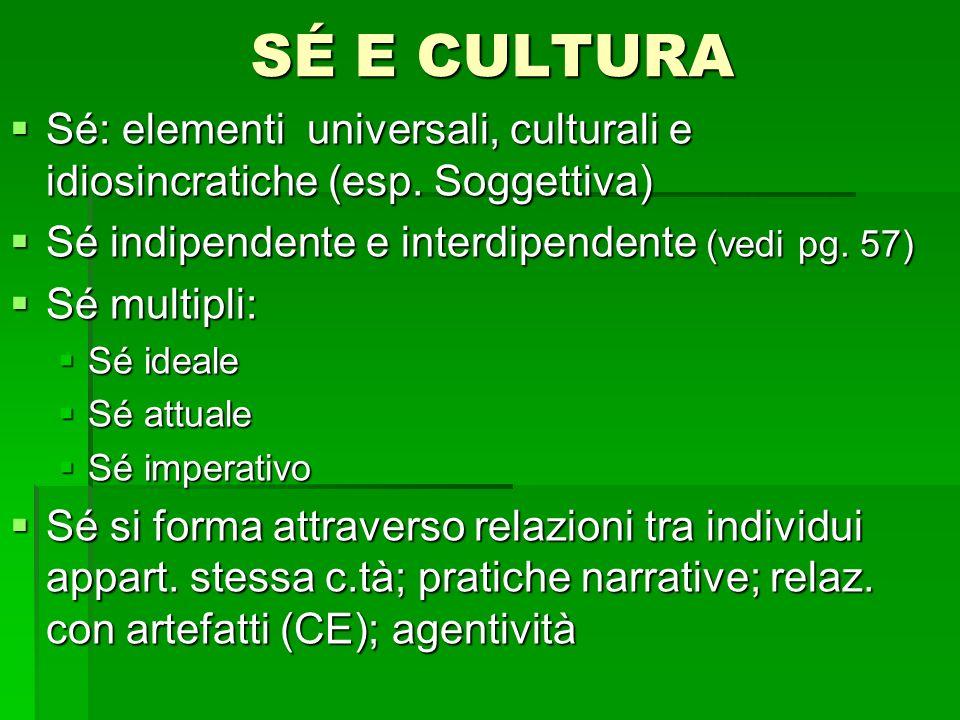 SÉ E CULTURA Sé: elementi universali, culturali e idiosincratiche (esp. Soggettiva) Sé indipendente e interdipendente (vedi pg. 57)