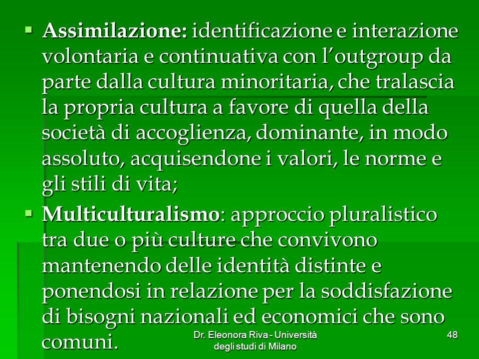 Dr. Eleonora Riva - Università degli studi di Milano