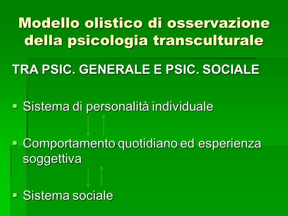 Modello olistico di osservazione della psicologia transculturale