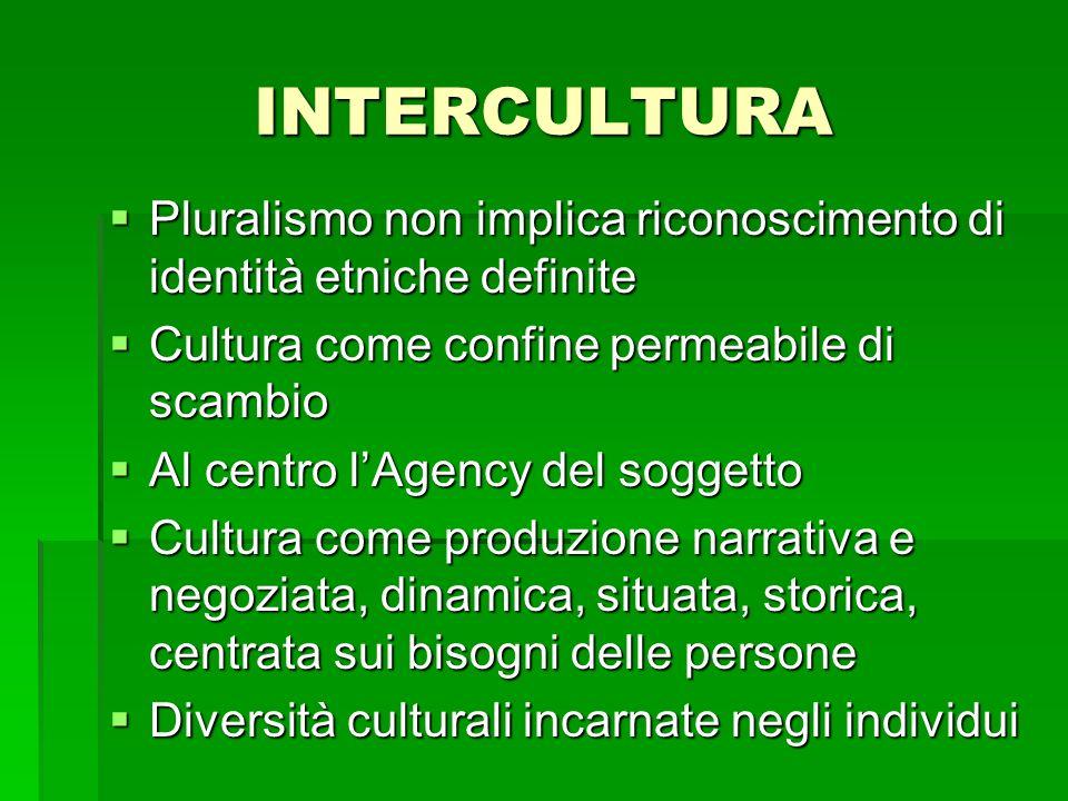INTERCULTURA Pluralismo non implica riconoscimento di identità etniche definite. Cultura come confine permeabile di scambio.