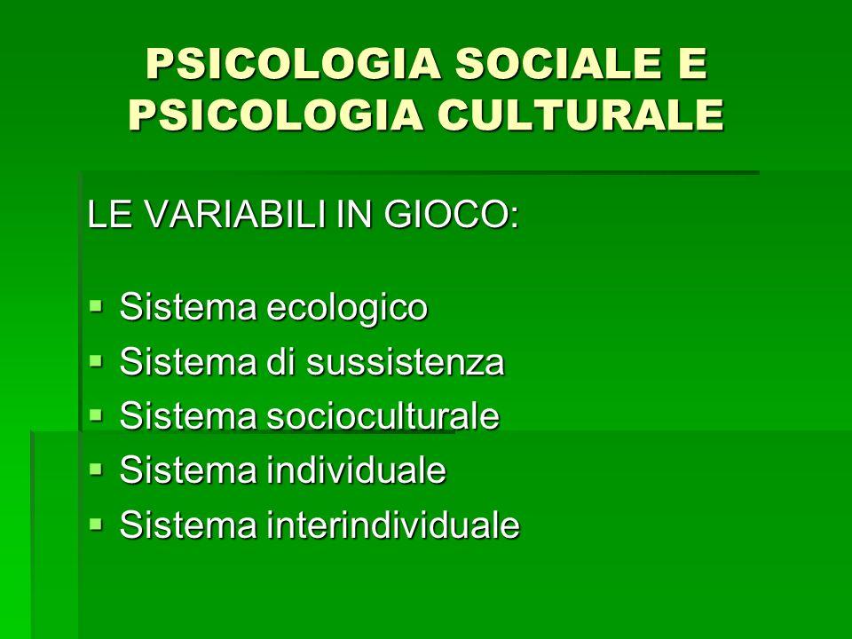 PSICOLOGIA SOCIALE E PSICOLOGIA CULTURALE