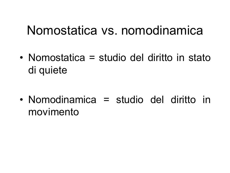 Nomostatica vs. nomodinamica