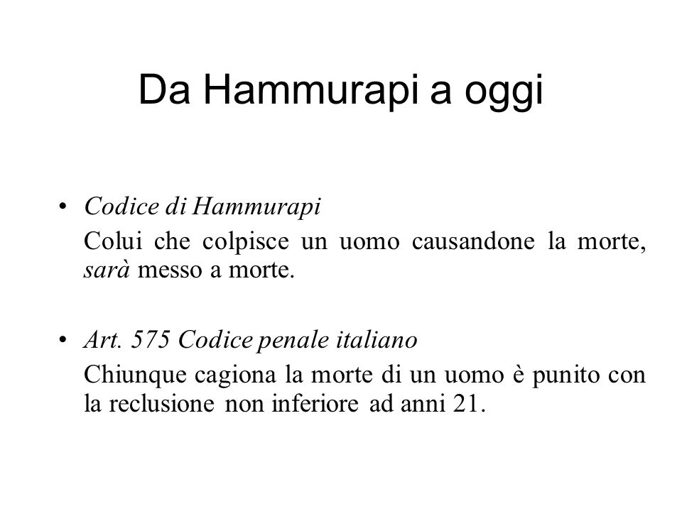 Da Hammurapi a oggi Codice di Hammurapi
