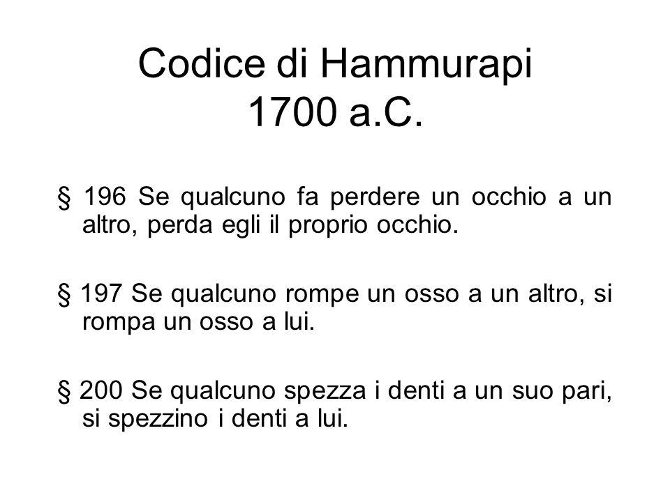 Codice di Hammurapi 1700 a.C. § 196 Se qualcuno fa perdere un occhio a un altro, perda egli il proprio occhio.