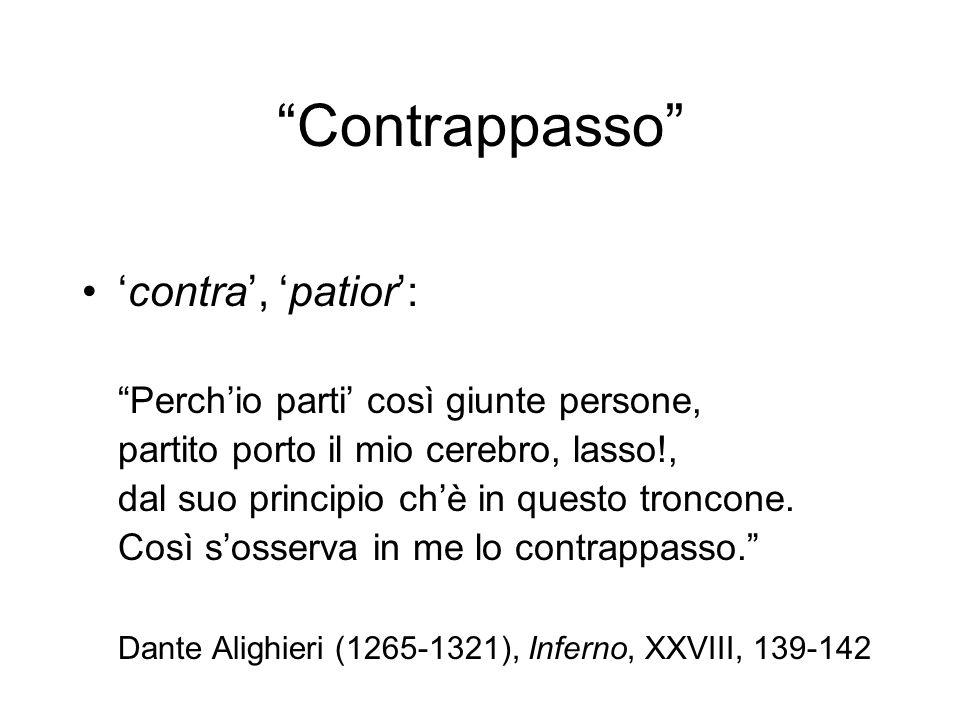 Contrappasso 'contra', 'patior':