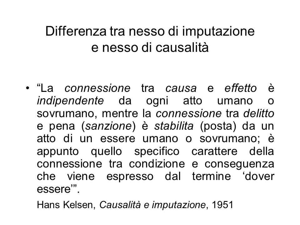 Differenza tra nesso di imputazione e nesso di causalità