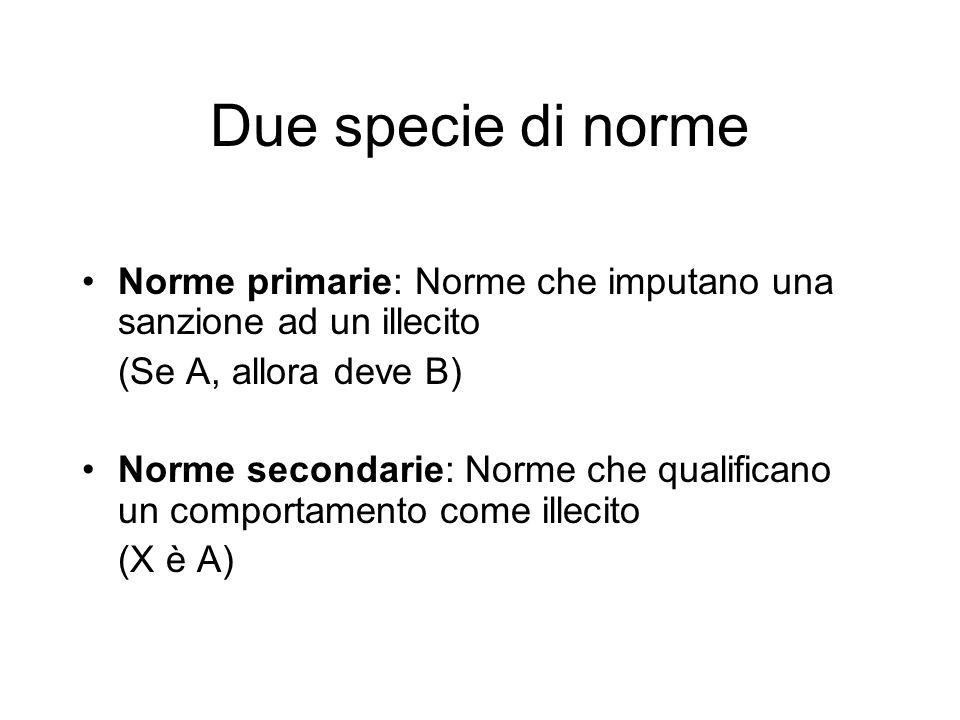 Due specie di norme Norme primarie: Norme che imputano una sanzione ad un illecito. (Se A, allora deve B)