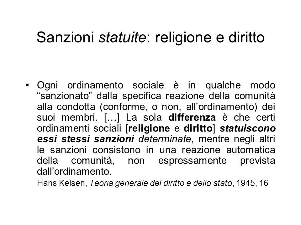 Sanzioni statuite: religione e diritto