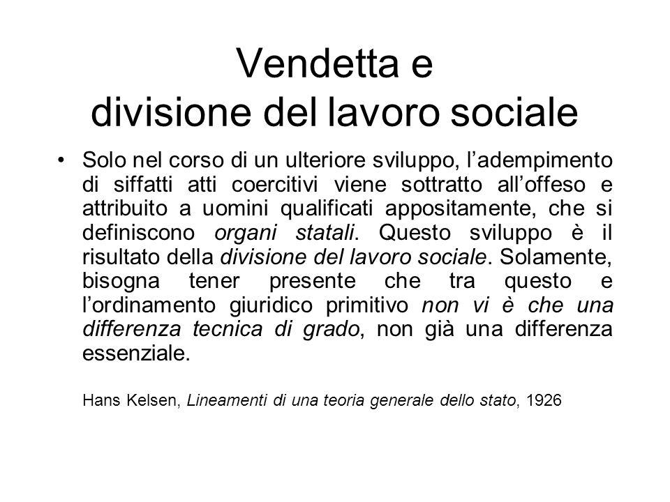 Vendetta e divisione del lavoro sociale
