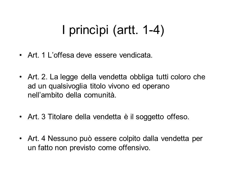 I princìpi (artt. 1-4) Art. 1 L'offesa deve essere vendicata.