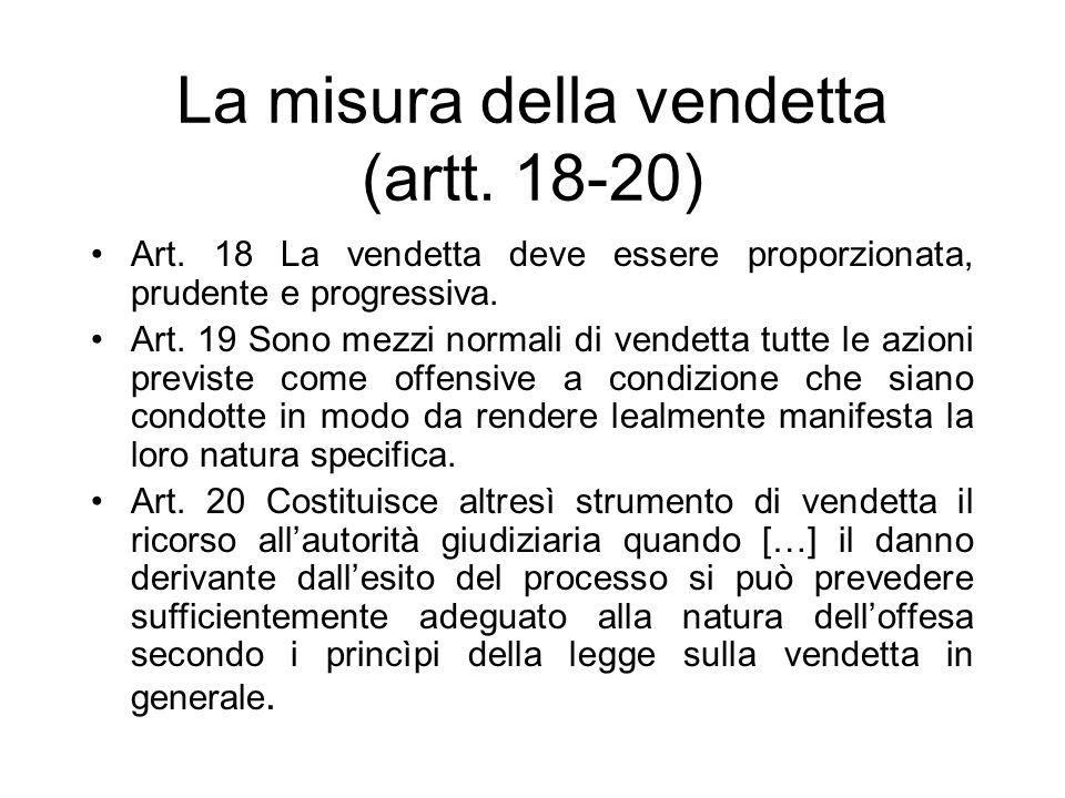 La misura della vendetta (artt. 18-20)