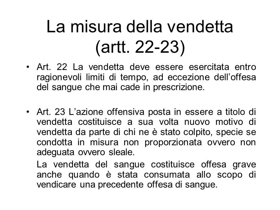 La misura della vendetta (artt. 22-23)