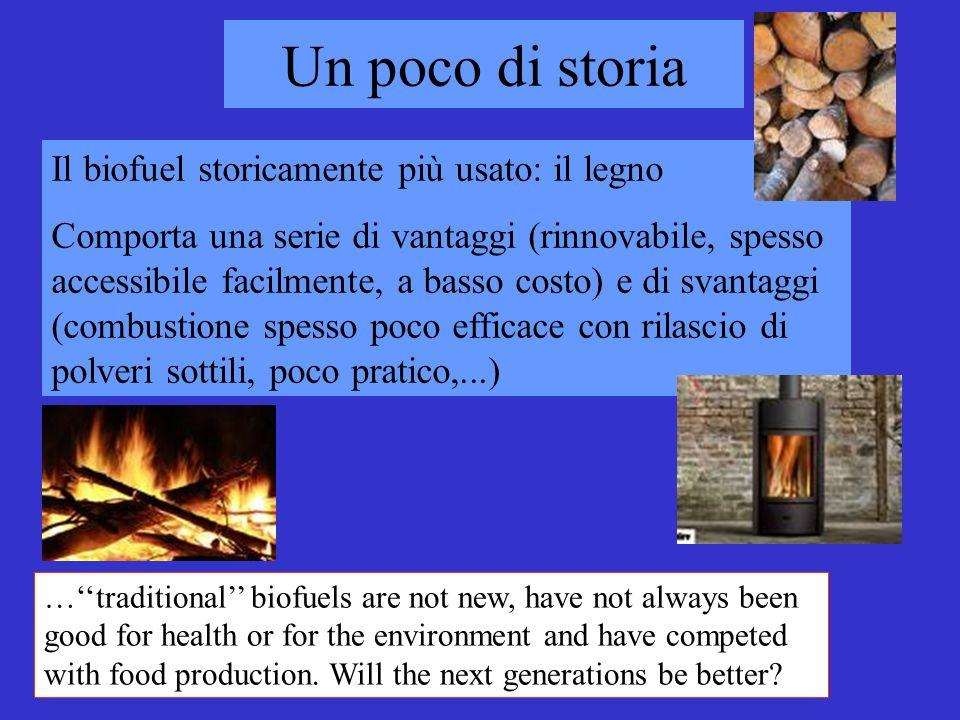 Un poco di storia Il biofuel storicamente più usato: il legno
