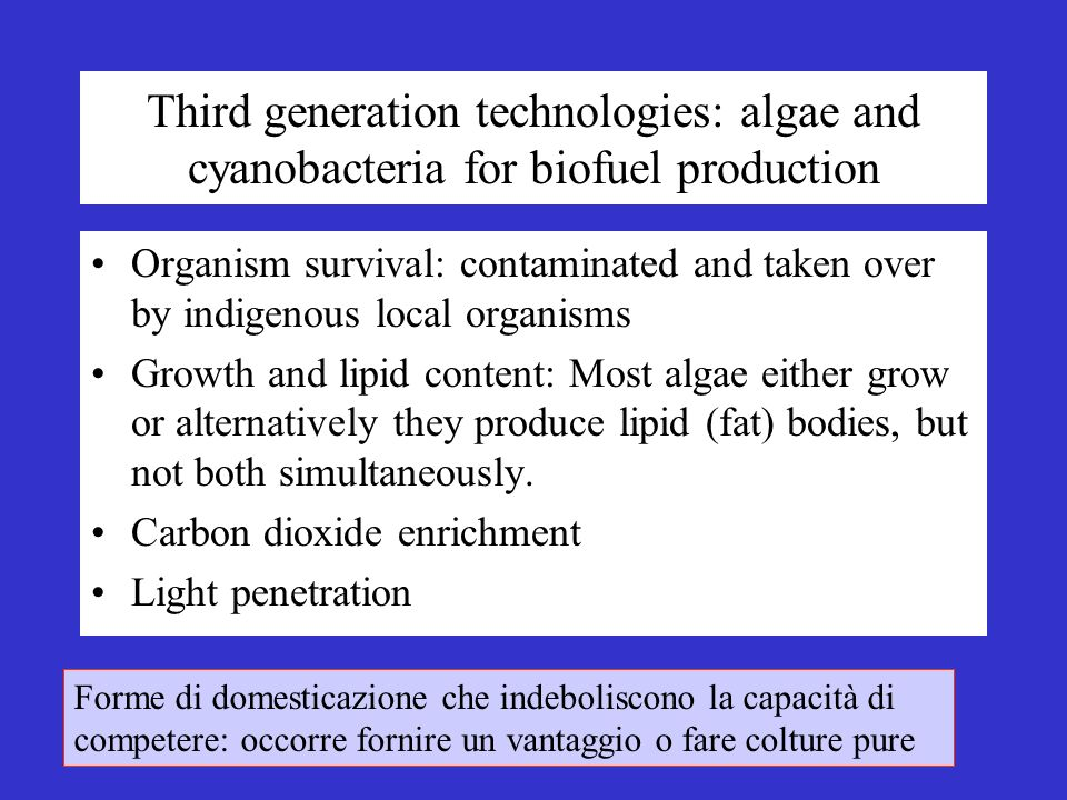 Third generation technologies: algae and cyanobacteria for biofuel production