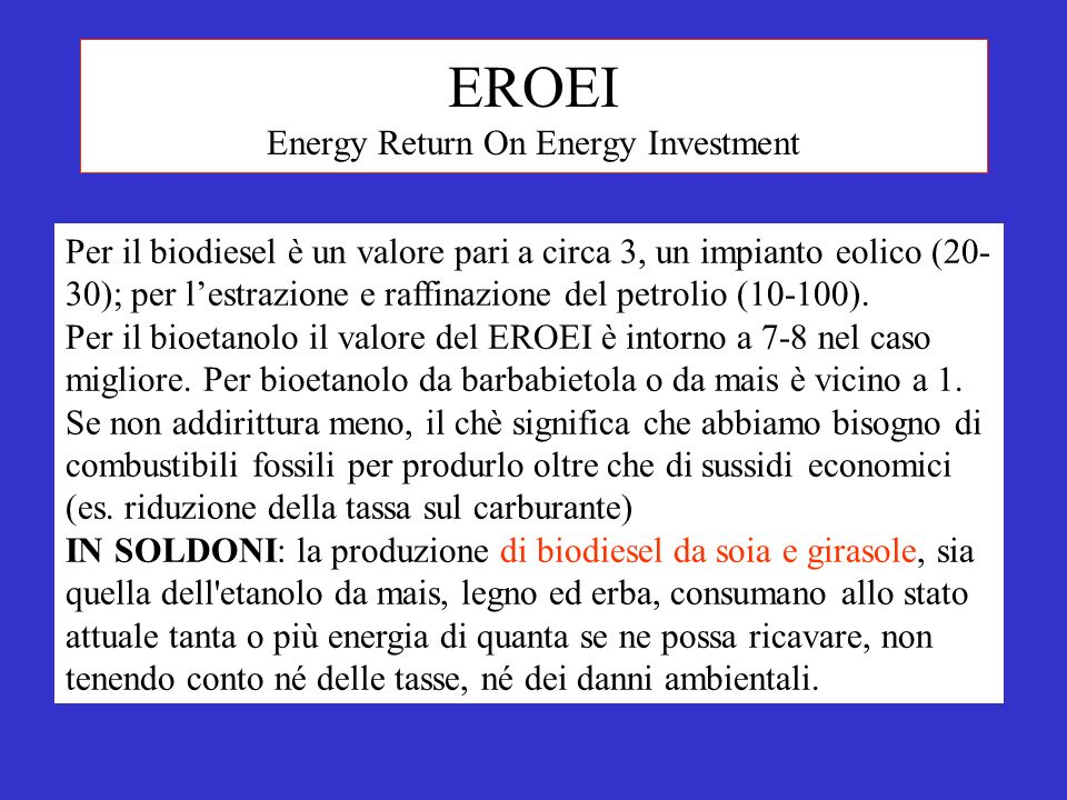 EROEI Energy Return On Energy Investment