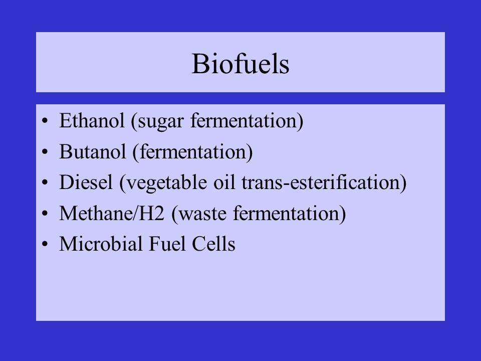 Biofuels Ethanol (sugar fermentation) Butanol (fermentation)