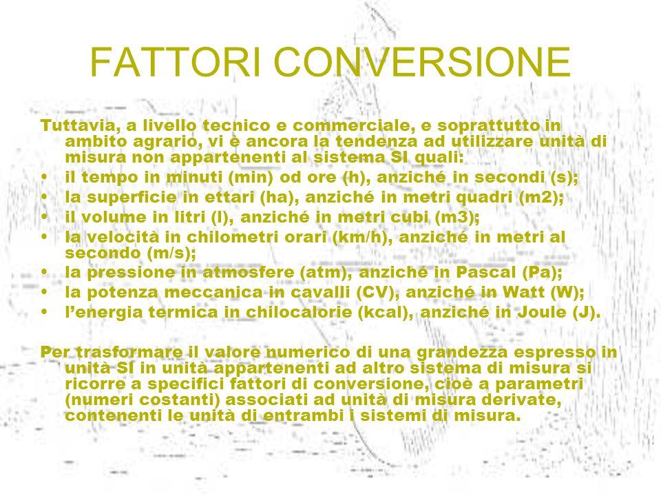FATTORI CONVERSIONE