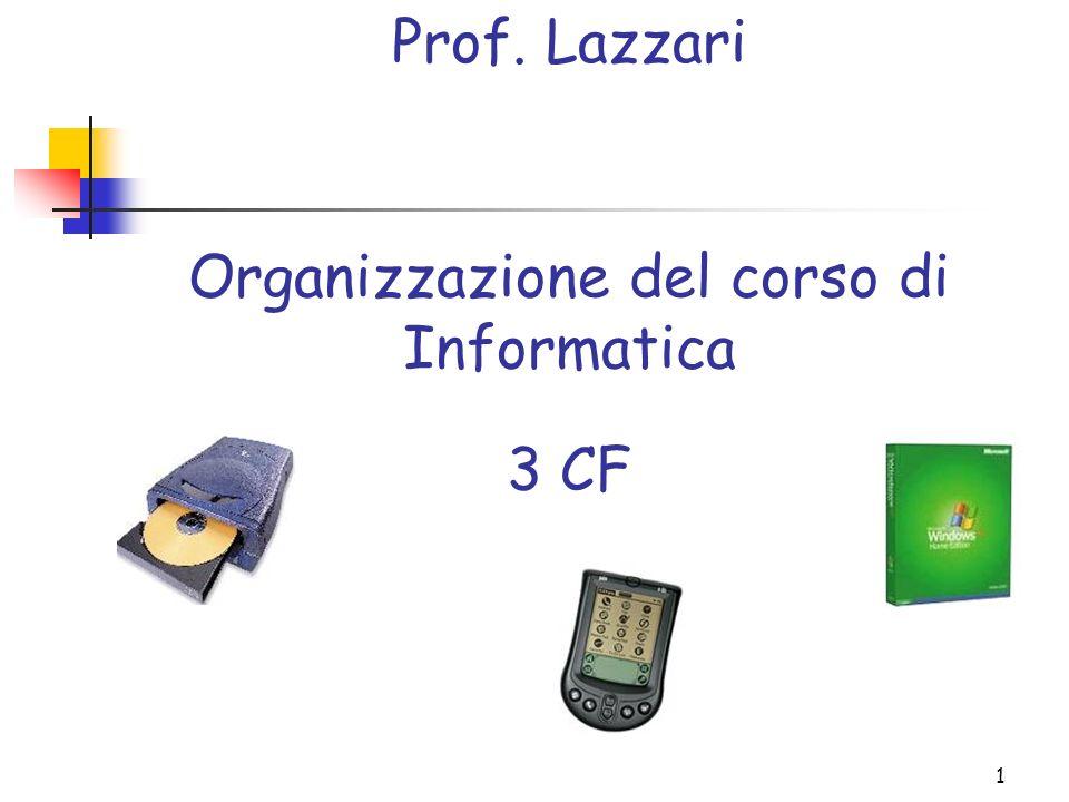 Organizzazione del corso di Informatica