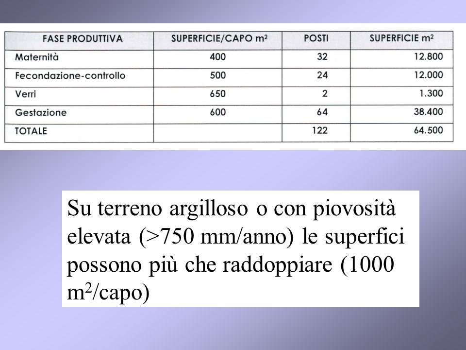 Su terreno argilloso o con piovosità elevata (>750 mm/anno) le superfici possono più che raddoppiare (1000 m2/capo)