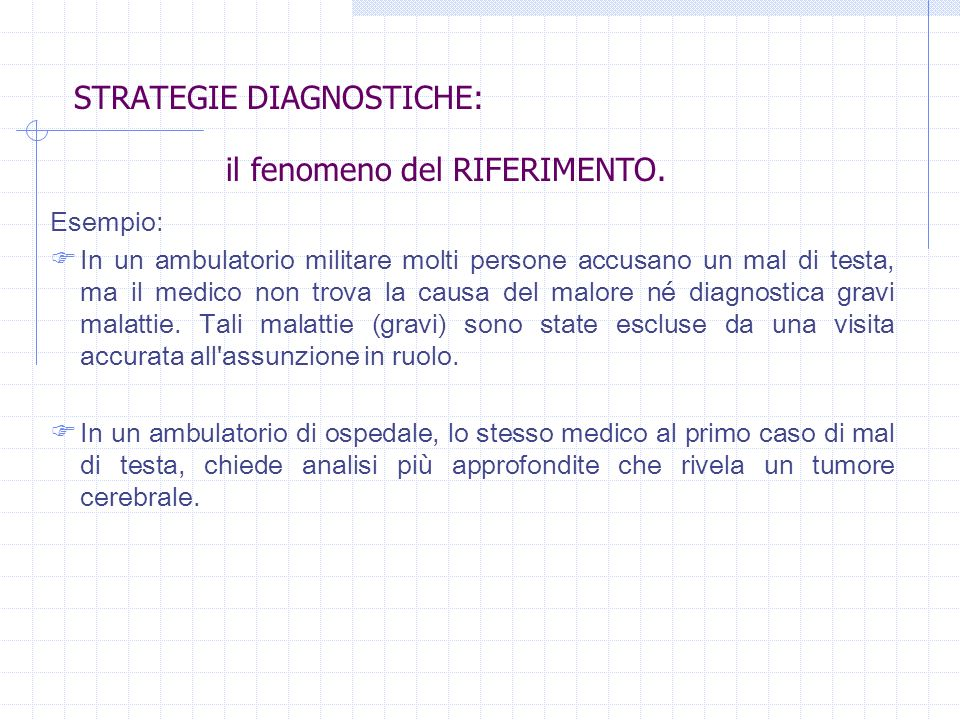 STRATEGIE DIAGNOSTICHE: