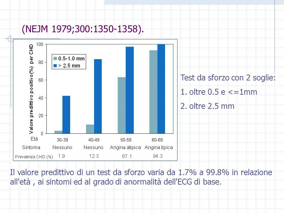 (NEJM 1979;300:1350-1358). Test da sforzo con 2 soglie: