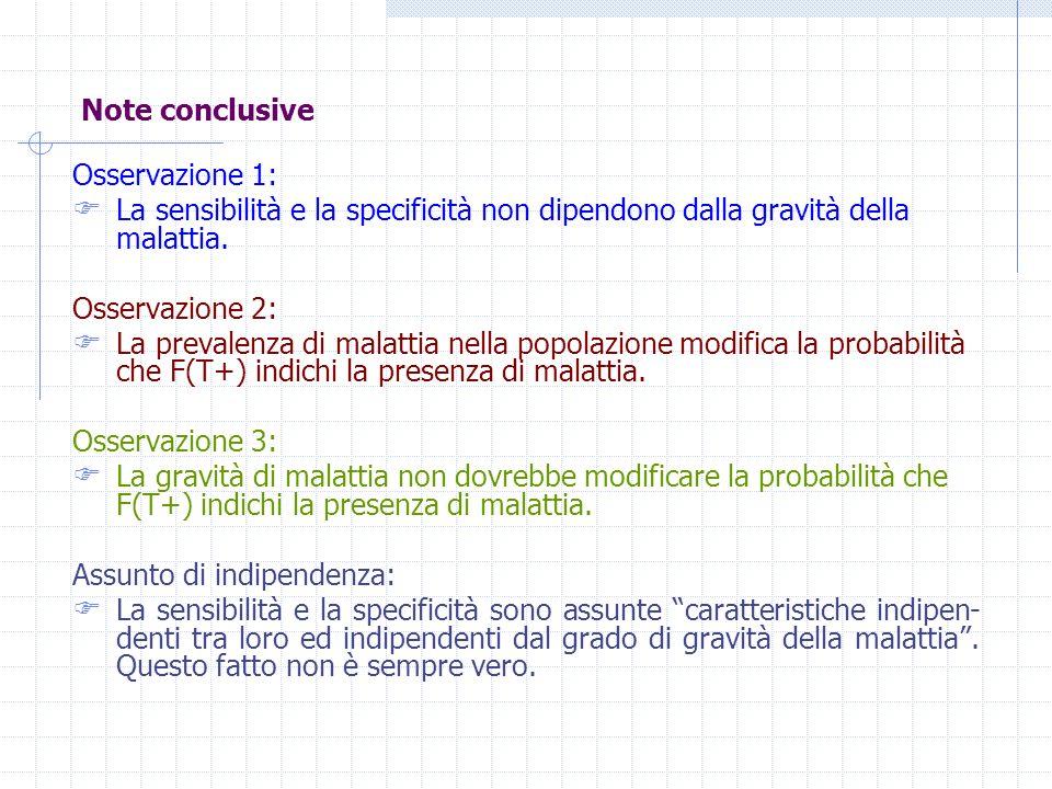 Note conclusive Osservazione 1: La sensibilità e la specificità non dipendono dalla gravità della malattia.