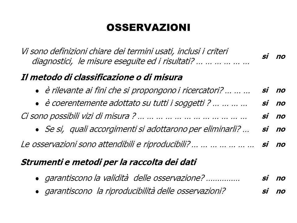OSSERVAZIONI Vi sono definizioni chiare dei termini usati, inclusi i criteri diagnostici, le misure eseguite ed i risultati … … … … … …