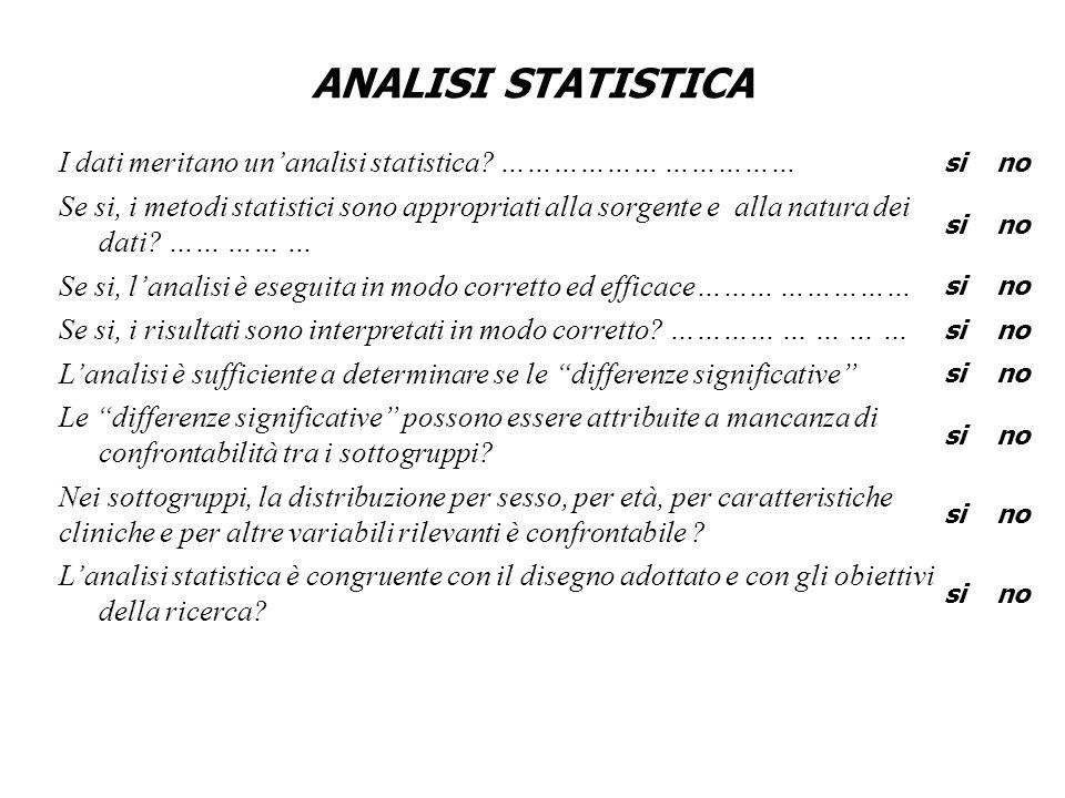 ANALISI STATISTICA I dati meritano un'analisi statistica ……………… ……………