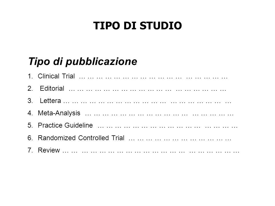 TIPO DI STUDIO Tipo di pubblicazione
