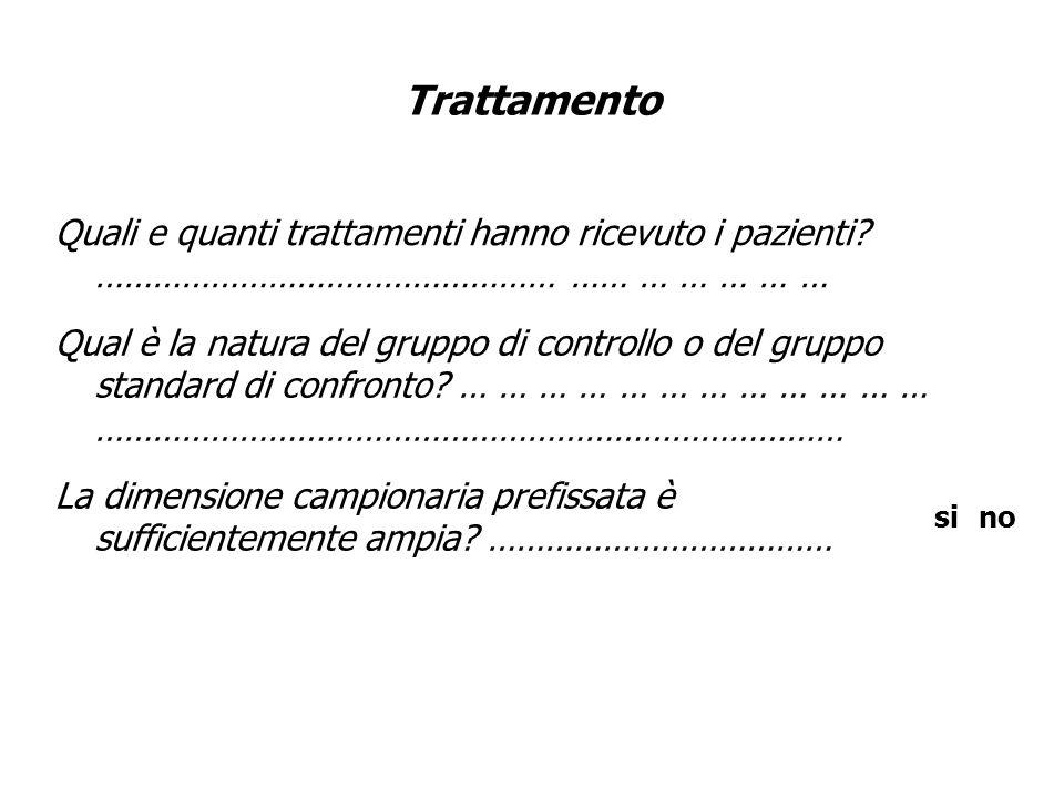Trattamento Quali e quanti trattamenti hanno ricevuto i pazienti ………………………………………… …… … … … … …