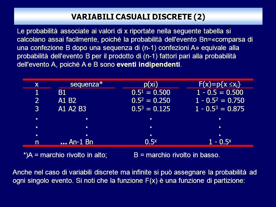 VARIABILI CASUALI DISCRETE (2)
