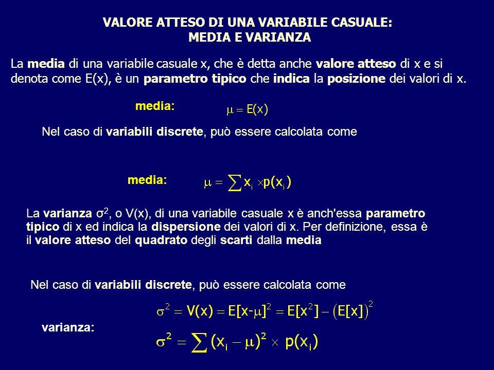 VALORE ATTESO DI UNA VARIABILE CASUALE: MEDIA E VARIANZA