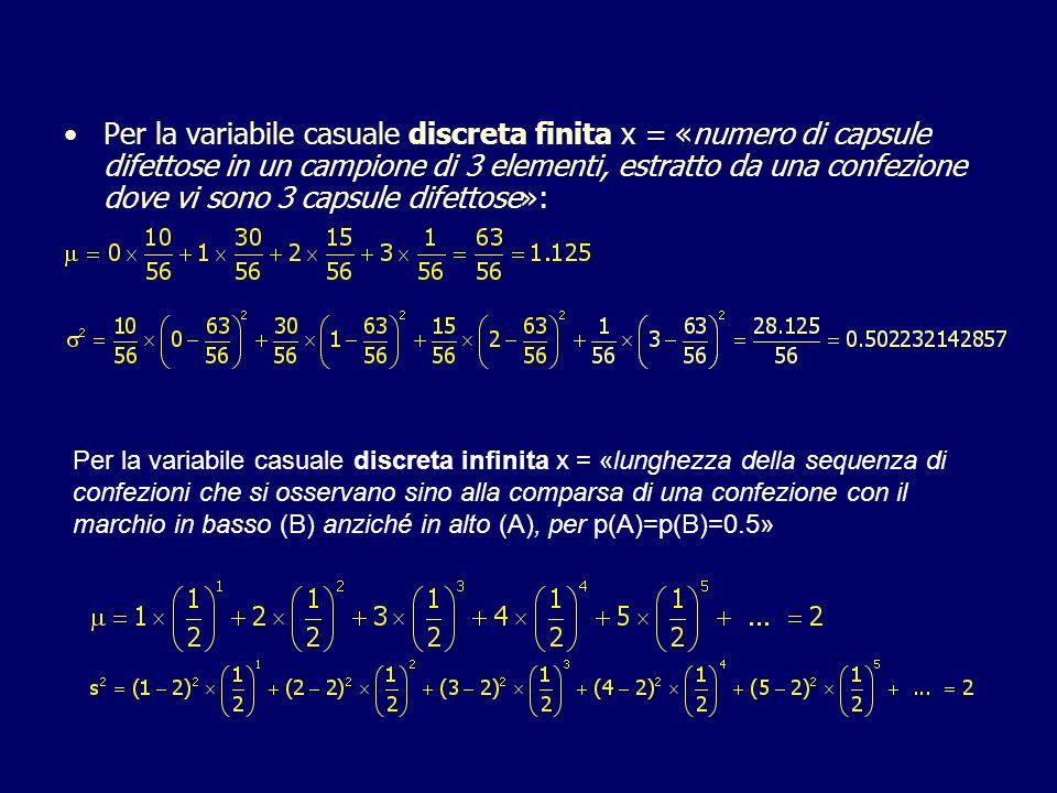 Per la variabile casuale discreta finita x = «numero di capsule difettose in un campione di 3 elementi, estratto da una confezione dove vi sono 3 capsule difettose»: