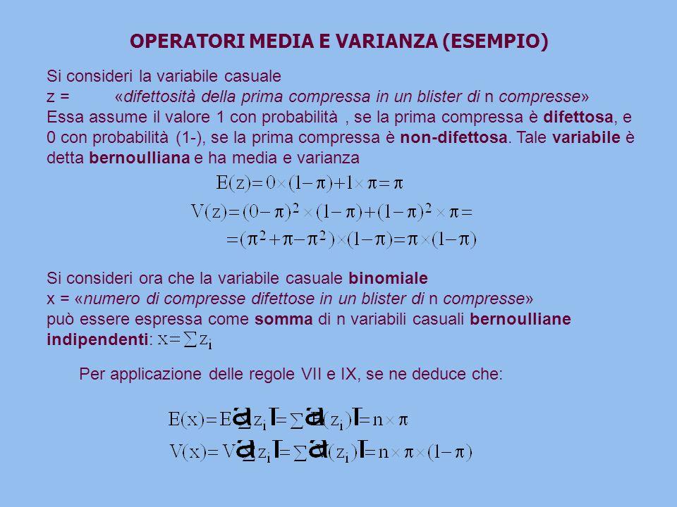 OPERATORI MEDIA E VARIANZA (ESEMPIO)