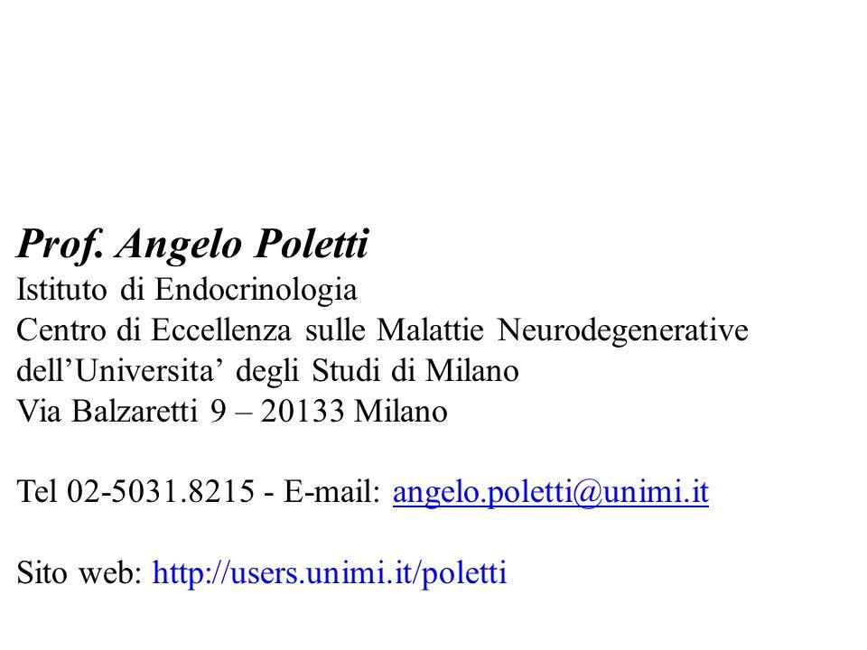 Prof. Angelo Poletti Istituto di Endocrinologia