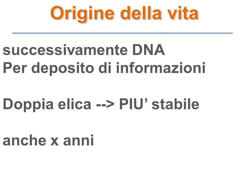 Origine della vita successivamente DNA Per deposito di informazioni