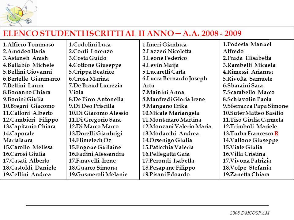 ELENCO STUDENTI ISCRITTI AL II ANNO – A.A. 2008 - 2009