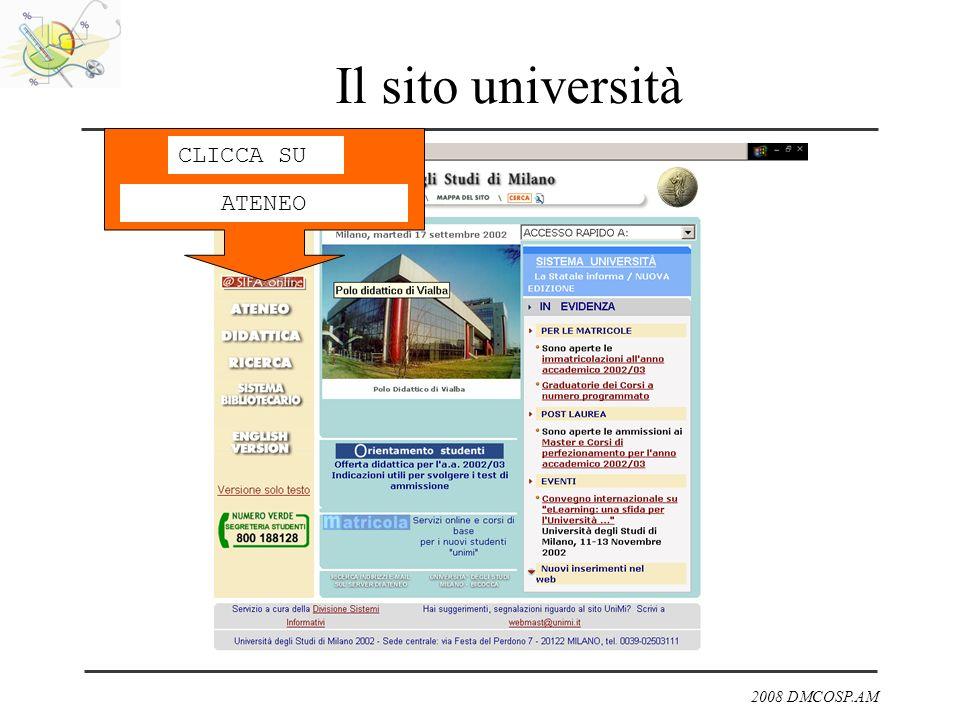 Il sito università CLICCA SU ATENEO