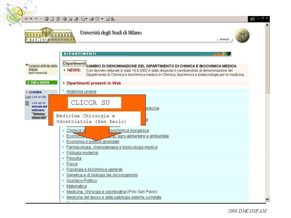CLICCA SU Medicina Chirurgia e Odontoiatria (San Paolo)